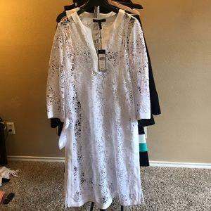 BCBGMaxazria, white lace dress